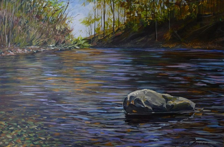 """""""Shaw's Creek Colours"""" painted by Caledon's talented Mark Grice and it's now on our wall!  I love Mark's artwork."""