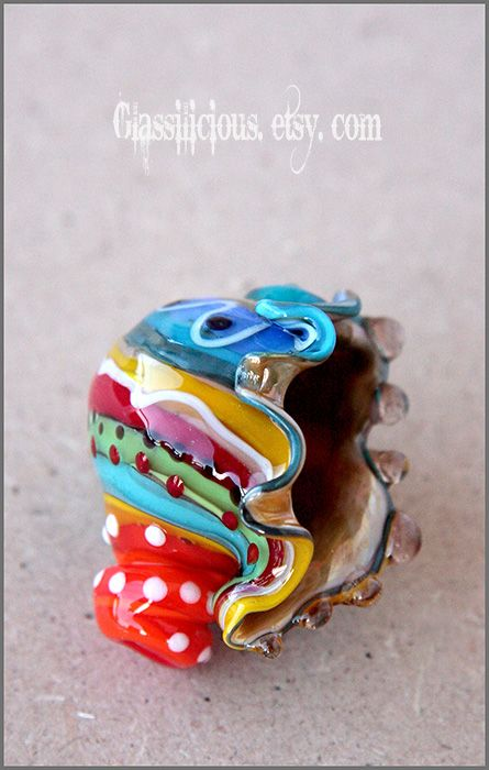 multicolor blown glass seashell bead by on deviantart
