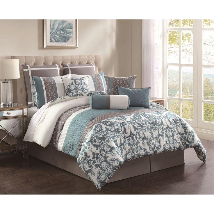 Comforter Set includes 1 comforter, 1 bedskirt, 2 shams, 2 European shams, 4 dec...