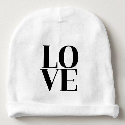 8da487aeca0 Modern Simple Black   White Love Baby Beanie