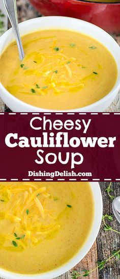 Cheesy Cauliflower Soup is the most delicious way you will ever find to get your vegetables. Leeks and onions sautéed with chopped carrots and celery, simmered with cauliflower and spices, then puréed and smothered in shredded cheddar cheese. It's ready in 30 minutes and under 300 calories per serving!