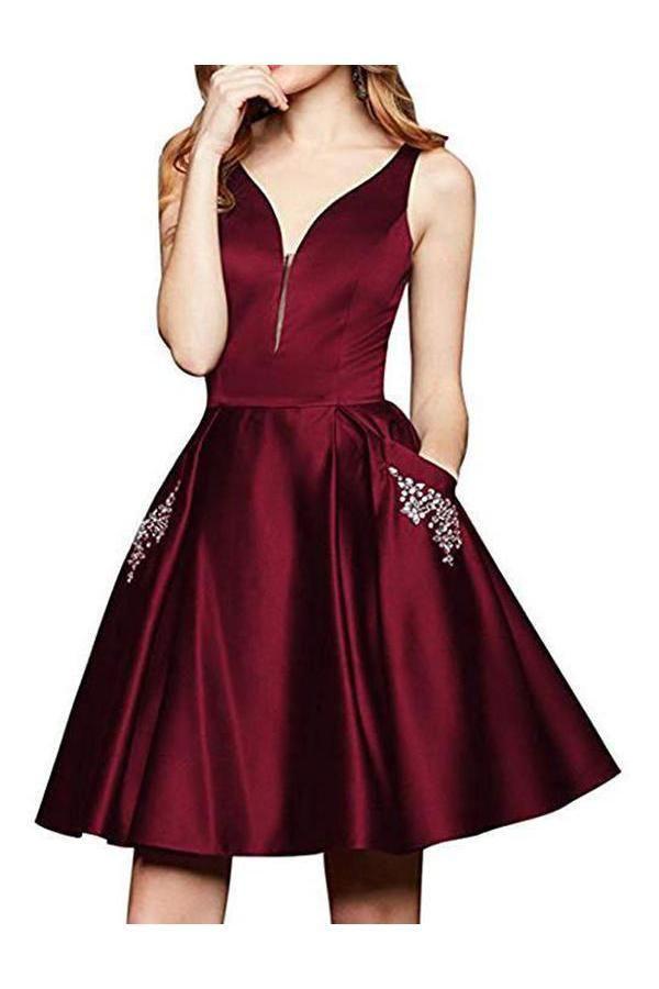 Hot Sale Engrossing V-Neck Homecoming Dresses 884d9b076