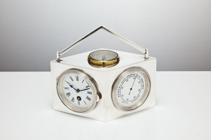 Diamond shape French sterling silver  combination clock, with barometers,  compass to top.  Swiss movement.     c1910.  S & J Stodel @silvervaultslondon.com