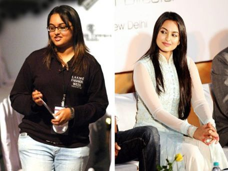 Fat to Fabulous: life makeover success stories from bollywood. Actress Sonakshi Sinha. before and after. true inspiration