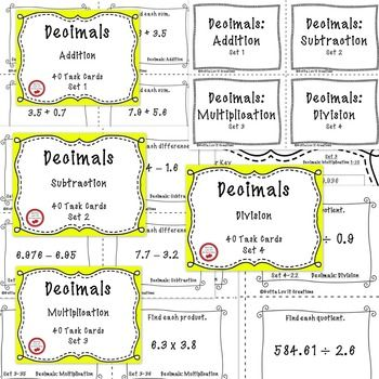 FREE DOWNLOAD!!  160 Task Cards  **4 cards per page**  Decimals: Addition, Subtraction, Multiplication, & Division.    Includes answer key and printable answer recording sheet for students.  This product is printer friendly.  No clip art or heavy borders requiring lots of ink!