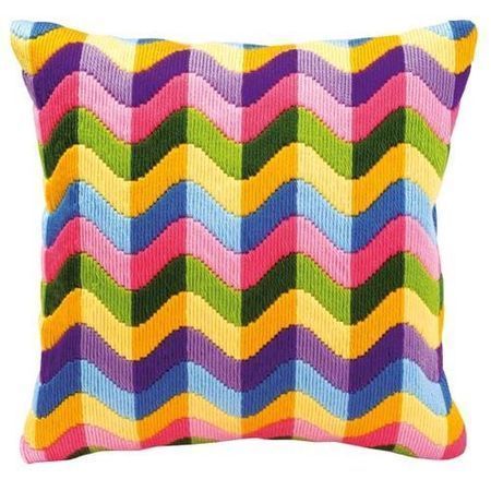 A soothing, wavy design with a vibrant colour scheme, this long stitch cushion panel kit is the perfect summery addition to your living room or bedroom.