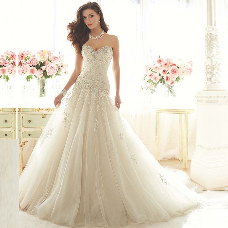 Find More Wedding Dresses Information About Romantic Real Picture A Line