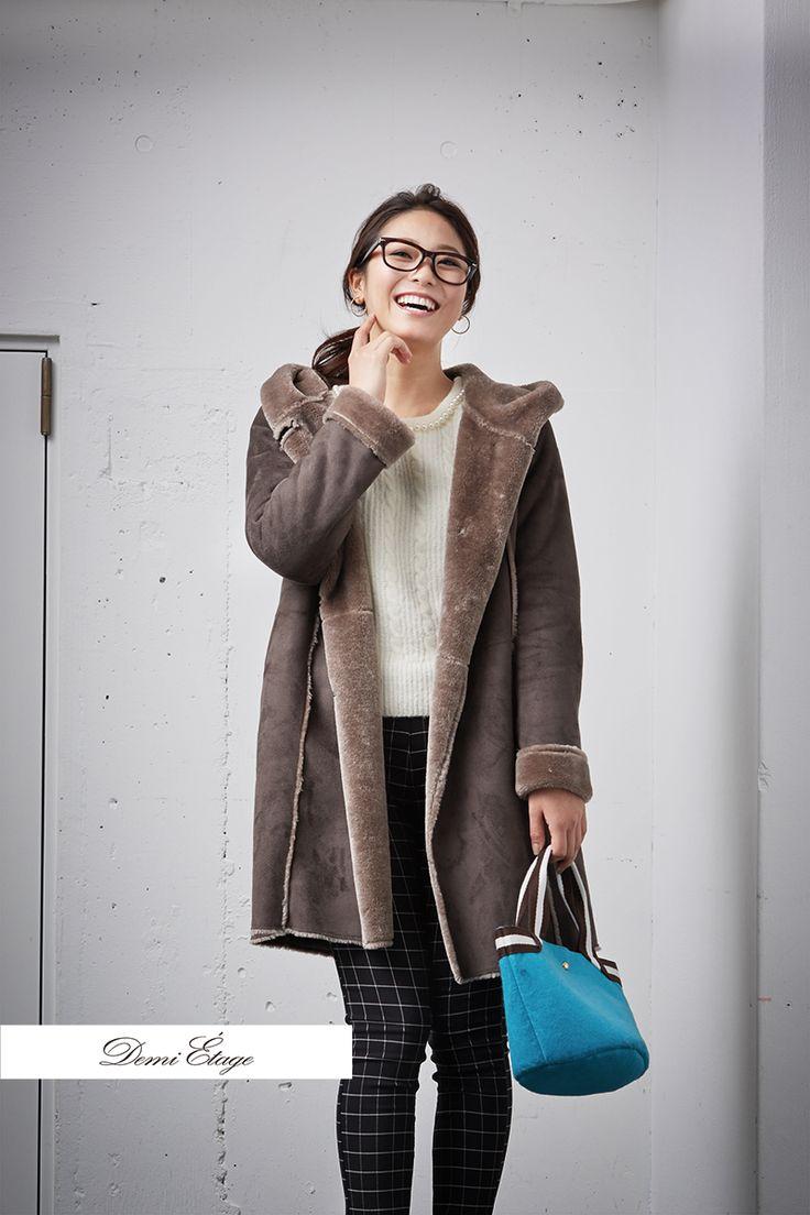 欲しかったムートンコートサラッと着られて好き(^-^) #kumiko_coordinate #大人カジュアル #demi_etage #ドゥミエタージュ #ムートンコート #冬コーデ #ootd #fashion