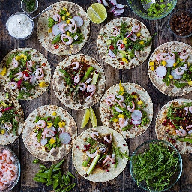 Sunny tacos  with shrimp, mashed peas seasoned with jalapeño & lime. Spring greens like asparagus…