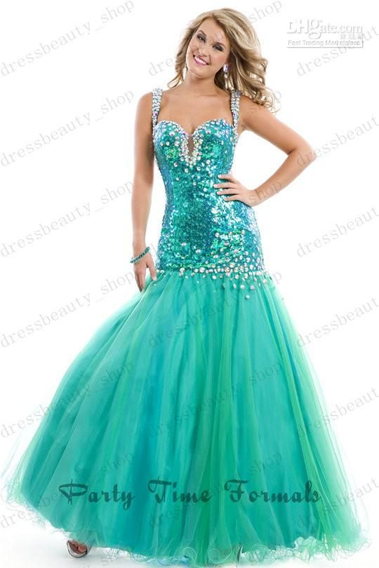 2014 Turquoise Tulle Long Mermaid Beauty Pageant Contest Pageant Dresses | Buy Wholesale On Line Direct from China