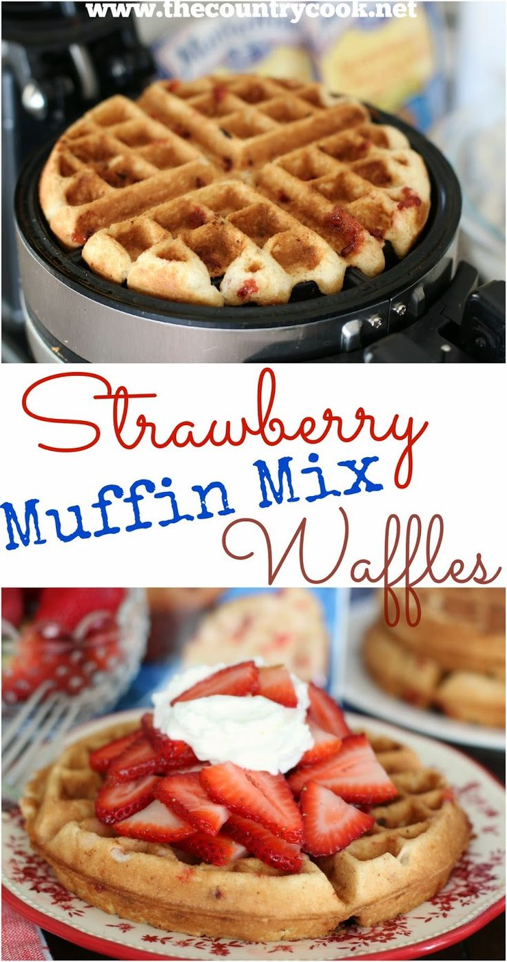Strawberry Muffin Mix Waffles from The Country Cook. Have dessert made in literally 4 minutes with these Martha White Strawberry Muffin Mixes and some strawberries! #MarthaWhite #ad #Whatsinyourpantry
