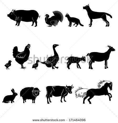 Farm animals vector set. Livestock.
