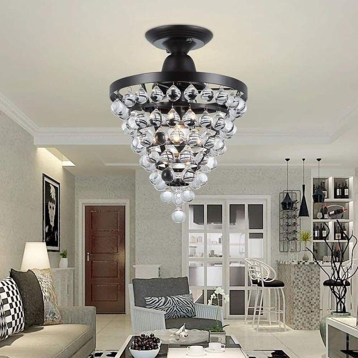Home Interiorlighting Design: Flush Mount Chandelier 1 Light Antique Bronze Crystal
