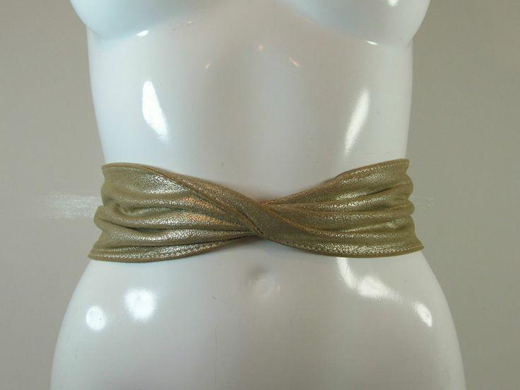 Gold distressed effect press stud fastener leather belt fashion belt S/M R12063