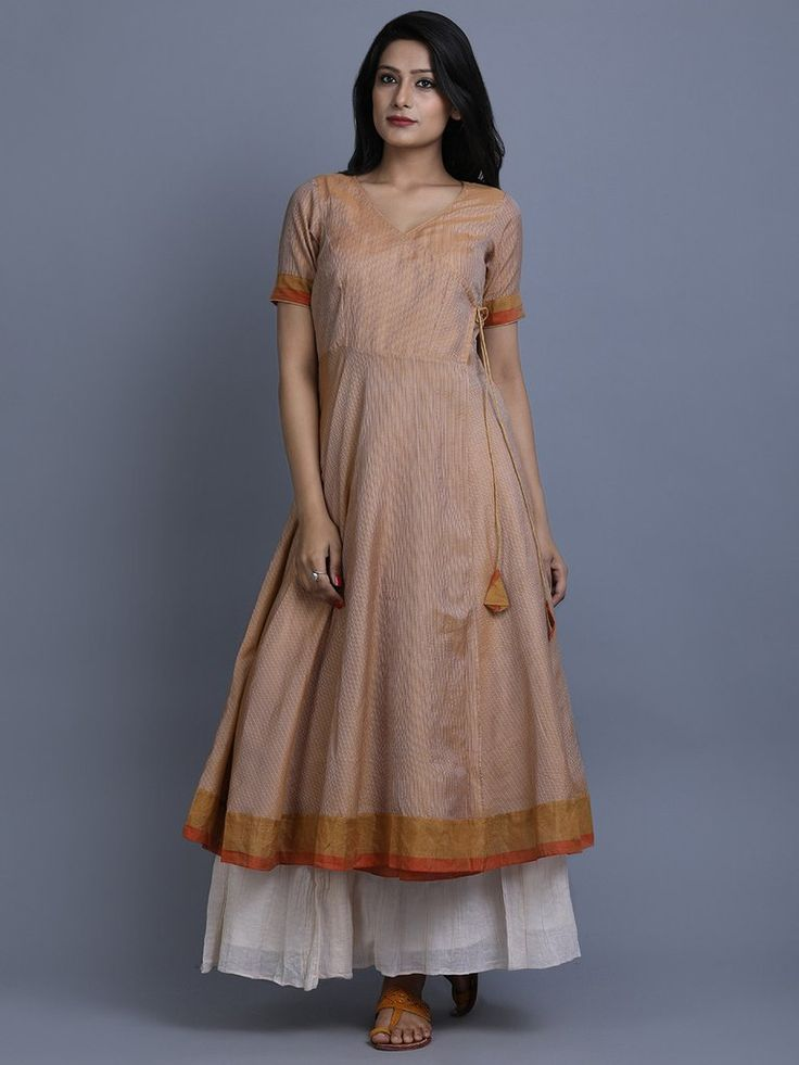 Rust Striped Chanderi Angrakha Kurta