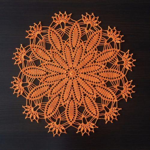 Springtime-Handmade-Crochet-Lace-Doily-Wall-Decor-Tablecloth-Orange