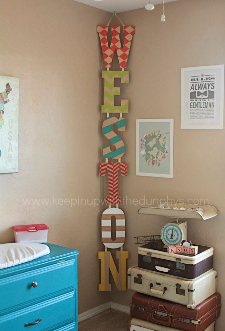 Inspiration pic only --- painted wooden letters. They hung them together with ribbon. Attached ribbon at top to ceiling hook. AWESOME! I could see this in a shop, too. ///// Dunphy Love: Come Fly With Me