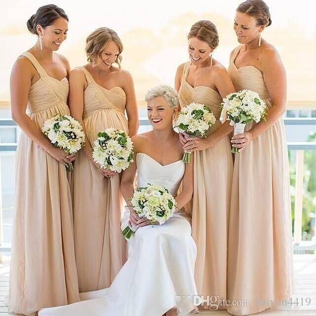 2017 New Long Bridesmaid Dresses One Shoulder Wedding Guest Wear Chiffon Beach Champagne Nude Party Dress Plus Size Maid of Honor Gowns 2017 Bridesmaids Dresses Beach Bridesmaid Dresses Long Bridesmaids Dresses Online with 100.0/Piece on Haiyan4419's Store | DHgate.com