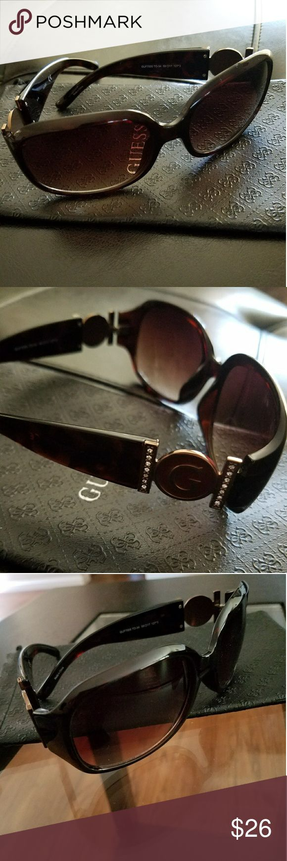 Guess Sunglasses! New w/o Tags in great condition! GUESS Sunglasses with case.  Tortoise color with G embellishment and cz looking details. :) Guess Accessories Sunglasses