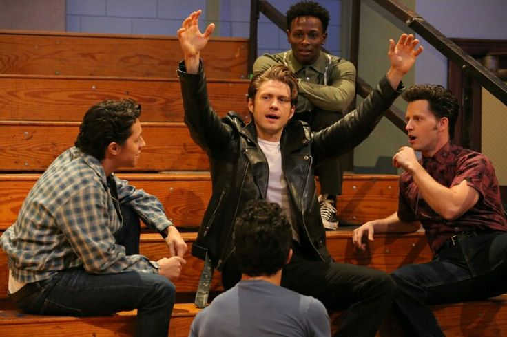 aaron tveit, david del rio, andrew call, and carlos penavega backstage in rehearsal for grease live