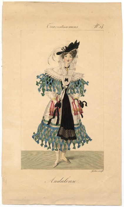 This 1825 fashion plate shows a fancy dress costume inspired by the traditional fashions of Andalusia.