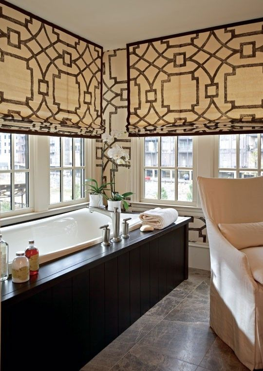 Window shades in fretwork fabric become the focal point of this room, giving it a modern twist.  via Traditional Home