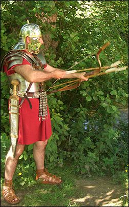 Roman Legionary hunting with a bow.