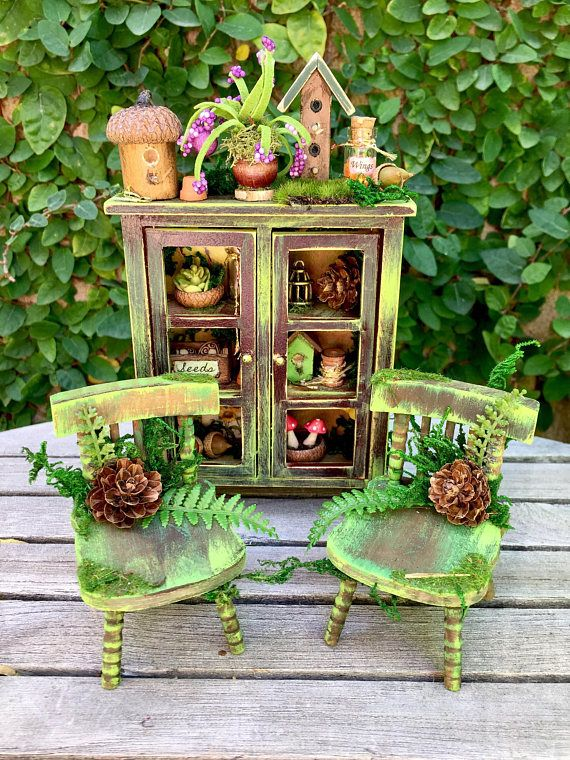 Fairy Garden Table And Chairs Miniature Fairy Furniture Miniature Dollhouse Kitchen Fairy Furniture Fairy Garden Furniture Fairy Garden Diy