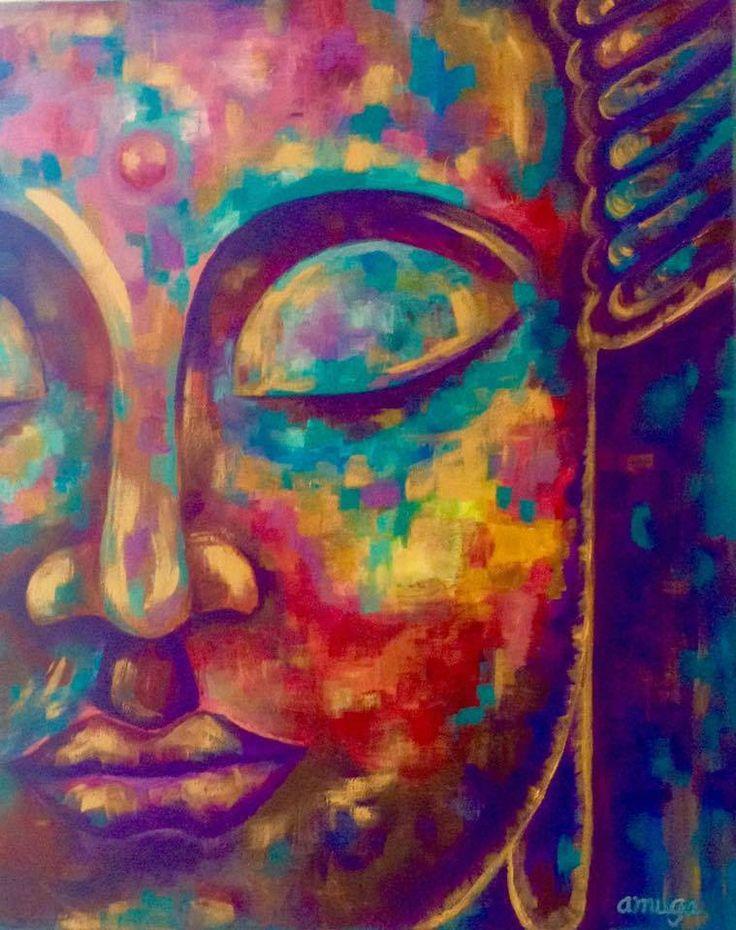 """Don de Fluir"" Andrea Muga 50x40 cm acrylic on canvas #buddha #art #colors #buddhism #meditation"