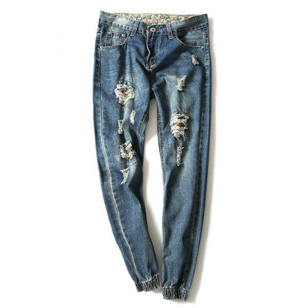 Modish Bleach Wash Hole Design Jogger Feet Jeans For Men #shoes, #jewelry, #women, #men, #hats, #watches, #belts