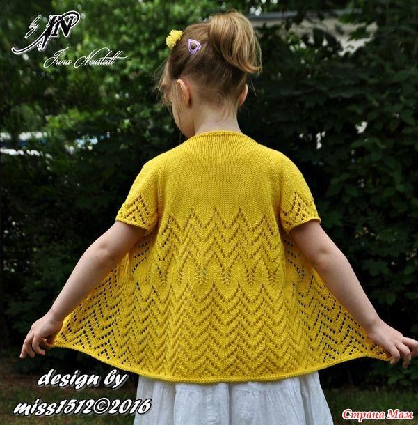 """""""Sunshine"""" летний кардиган моей моднице, спицы. Мой дизайн!"""