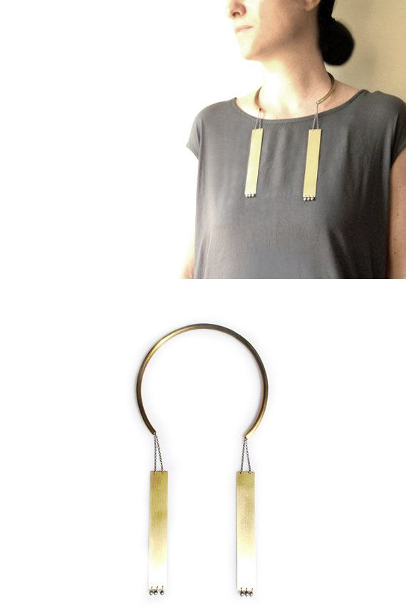 Open Choker Necklace with Dangling Plates Metal Choker