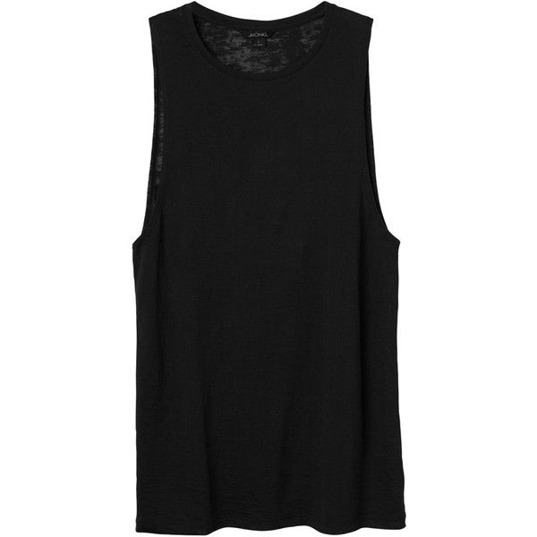 Monki Rocky Top ($6.60) ❤ liked on Polyvore featuring tops, tank tops, shirts, tanks, black magic, sheer tank top, cotton tank top, burnout tank top, punk shirt and burnout tops