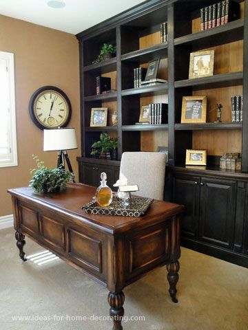 My Country FarmHouse Office --- love the room color, love the burlap on the shelves --- love this room!