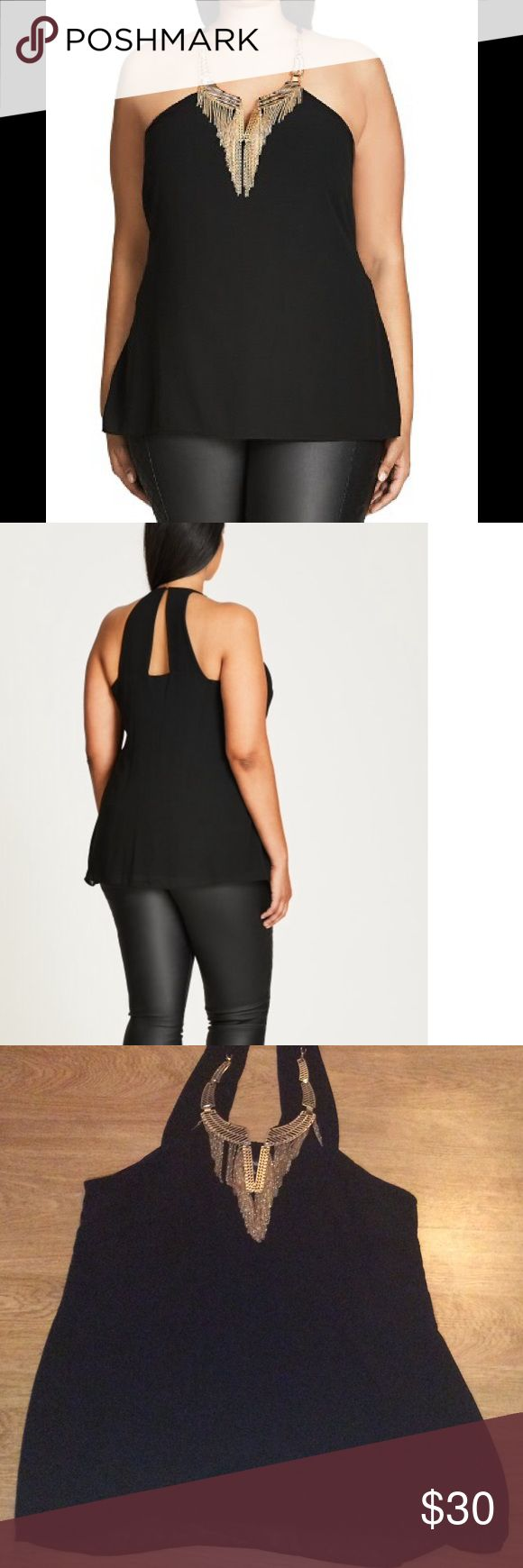 City Chic Top Sexy Metal chiffon top You'll never need to think about jewellery again when wearing the Black Sexy Metal Plus Size Top! We've done the work for you and adorned this sexy lightweight tank with polished gold finished metal embellishments and chains at the neckline.  Needs the hook for loop on top of back. This is an xs in plus size City Chic Tops