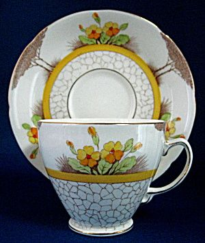 Art Deco Cup And Saucer Trees Flowers Brn Transferware