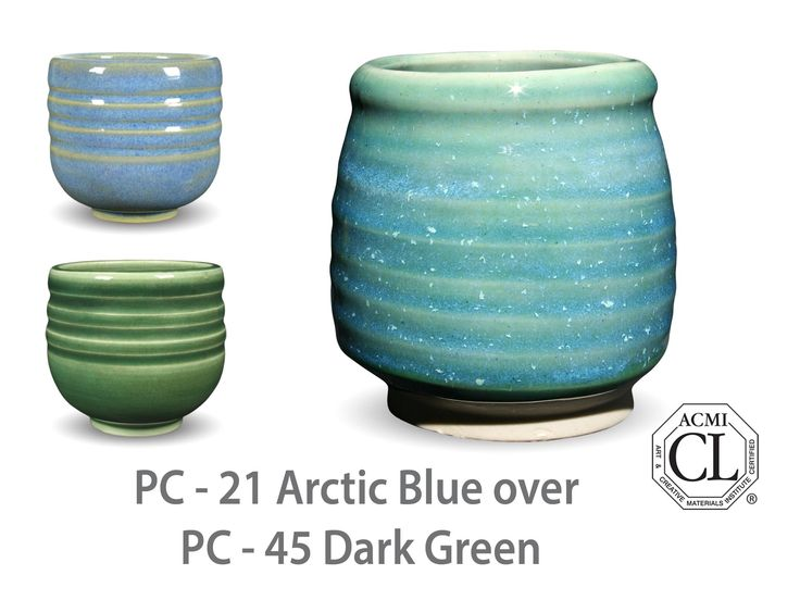 AMACO Potter's Choice layered glazes PC - 45 Dark Green and PC - 21 Arctic Blue.