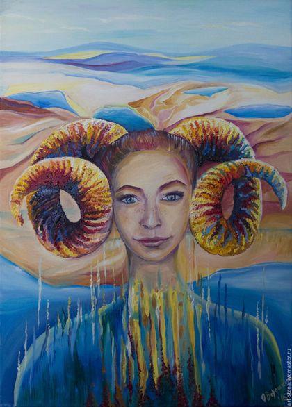 Картина маслом, мифологическое существ, похожееа на Овен. на самом деле это Хала - пазитель болгарских семи озер, которые известны под названием `Семь Рильских озер`.