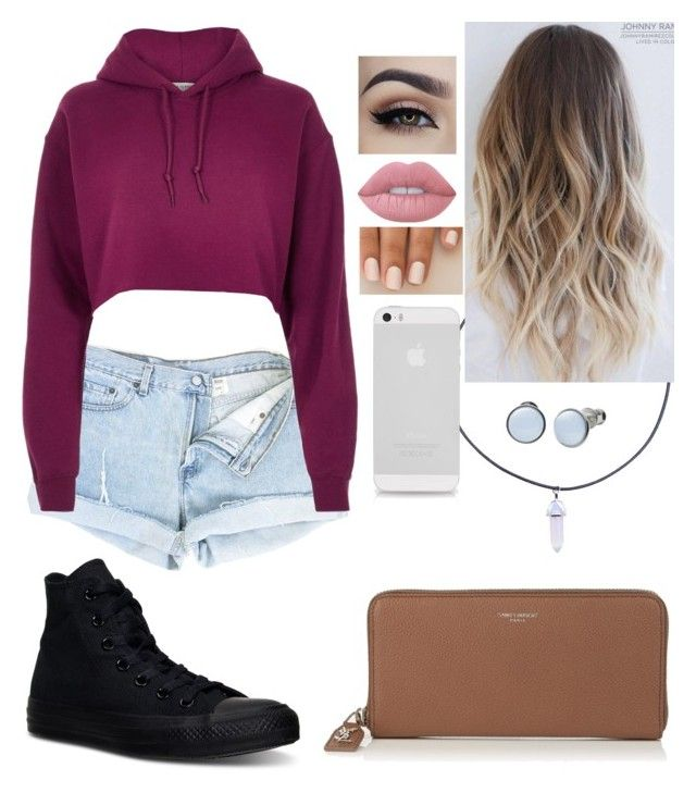 """""""Untitled #62"""" by bubblegumprincess831 on Polyvore featuring Converse, River Island, Lime Crime, Yves Saint Laurent and Skagen"""