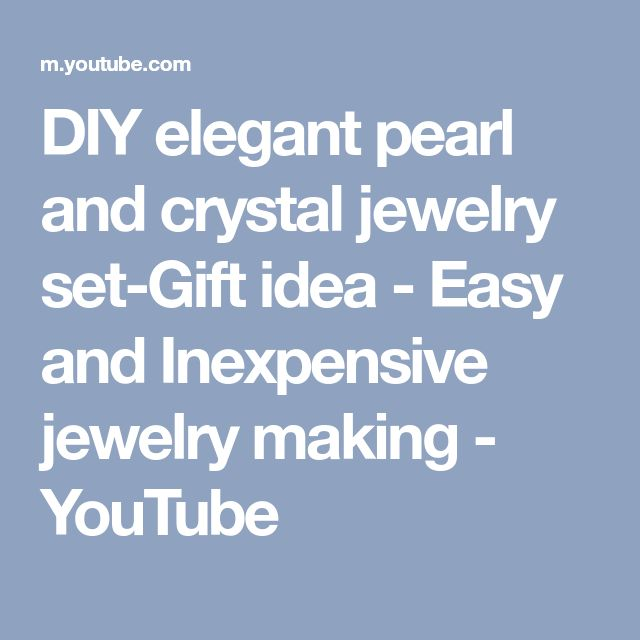 DIY elegant pearl and crystal jewelry set-Gift idea - Easy and Inexpensive jewelry making - YouTube