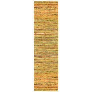 Recycled Sari Silk Yellow Runner (2'6 x 12')