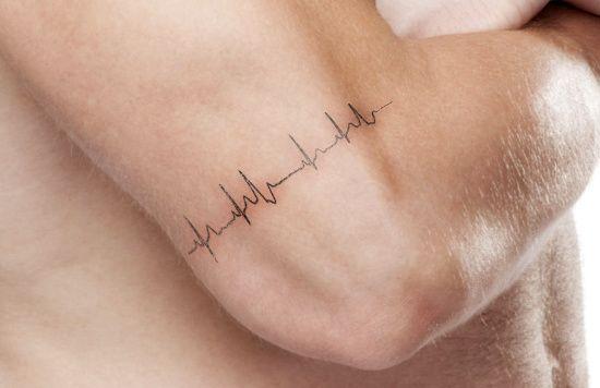 Simple heartbeat tattoo