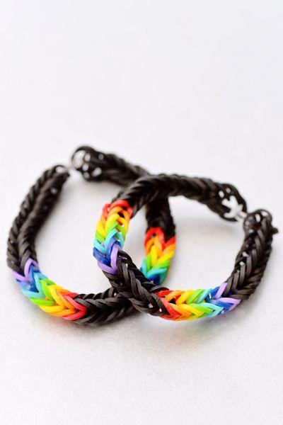 Rainbow fishtail loom bands