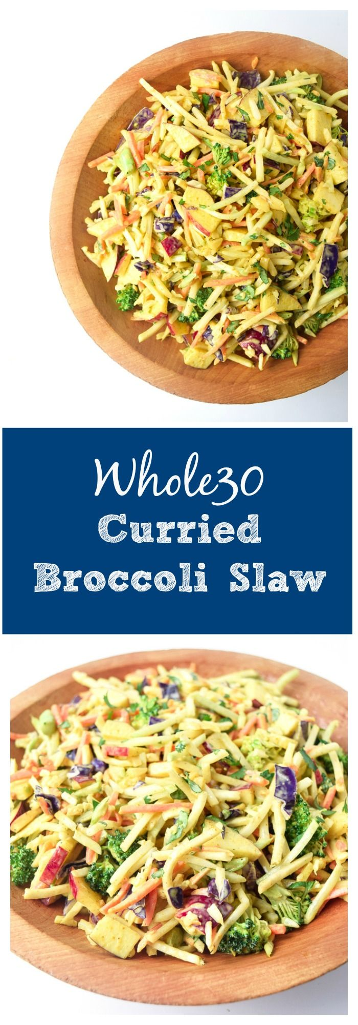 Whole30 Curried Broccoli Slaw - crunchy, satisfying, and nutritious, this salad packs a huge punch of flavor and is a great addition to any meal! | tastythin.com