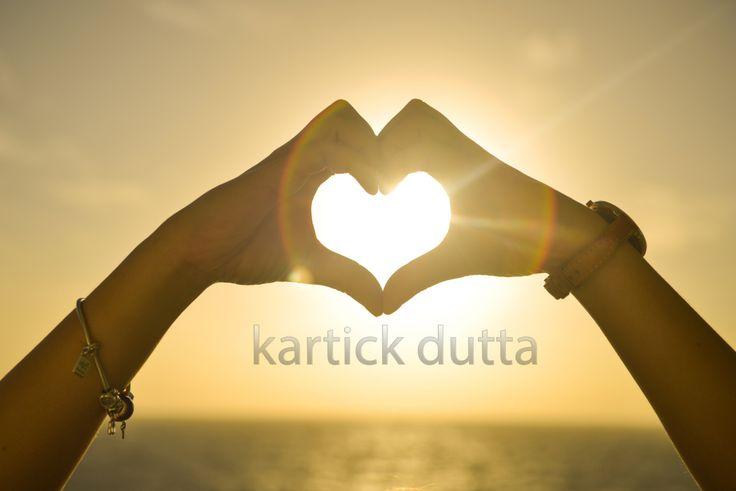 Heart symbol woman hand silhouette in sunset sky by DuttaartShop on Etsy