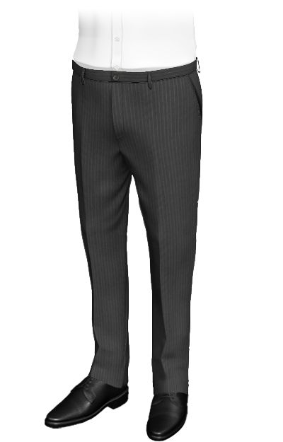 Ento Grey-striped slim fit pants, wool and terylene. These custom pants combine gray buttons and a fine fabric with a pattern made of thick gray stripes and beige and pale brown lines. They remind us a composition of fine slate stones. The elegance of these pants is unquestionable.