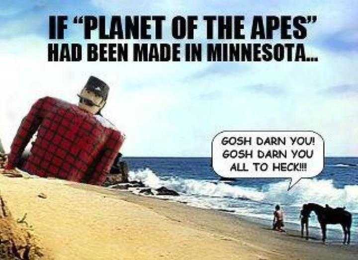 Uff da, what have those apes done with poor Paul Bunyan?! This would also look awesome with Pierre, the Pantsless Voyageur...