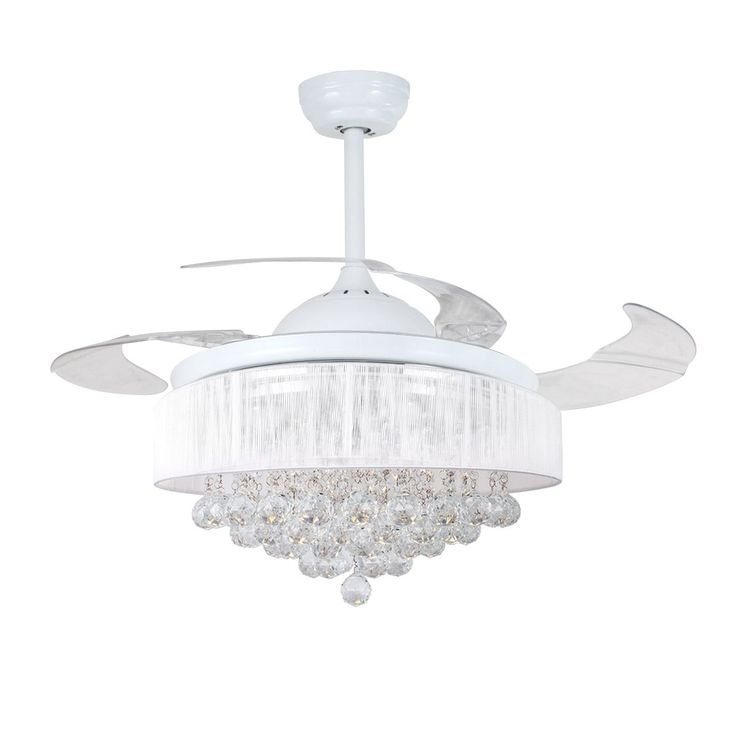 Retractable 4 Blades 46 Inch Led Crystal Ceiling Fan