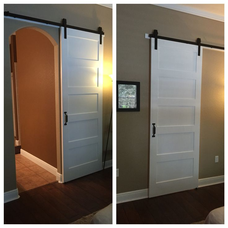 Modern barn door for arched doorway.    Door:   http://www.homedepot.com/p/Krosswood-Doors-36-in-x-96-in-Shaker-5-Panel-Primed-Solid-Core-MDF-Interior-Door-Slab-KW-SH151-3080-SLB/206316375   Hardware: http://www.homedepot.com/p/Everbilt-Dark-Oil-Rubbed-Bronze-Decorative-Sliding-Door-Hardware-14445/205946379    Door handle: http://www.homedepot.com/p/Quiet-Glide-8-5-8-in-x-1-13-16-in-x-1-1-2-in-Black-Rectangle-Handle-QG13990408/206157817