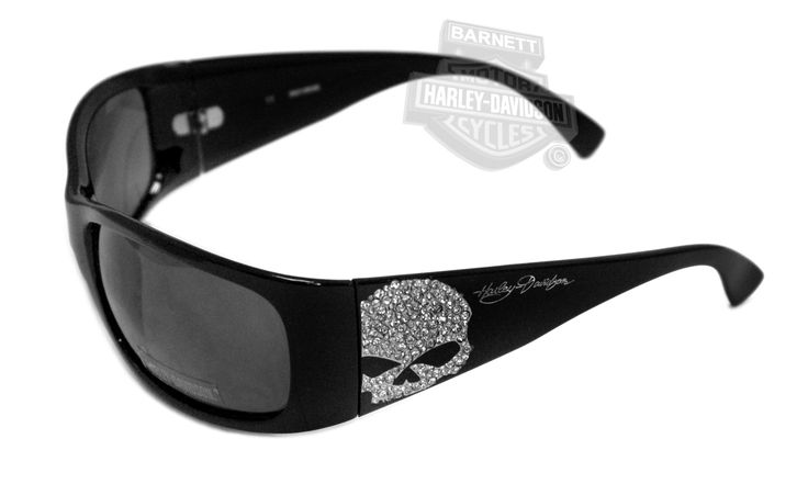 I want these!!!!!    Harley-Davidson® Bling Willie G Skull Black Frame Grey Lens Sunglasses by Viva Eyewear